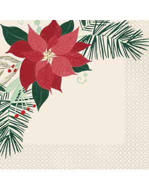 Sæt af 16 servietter med julestjerner - Red & Gold Poinsettia