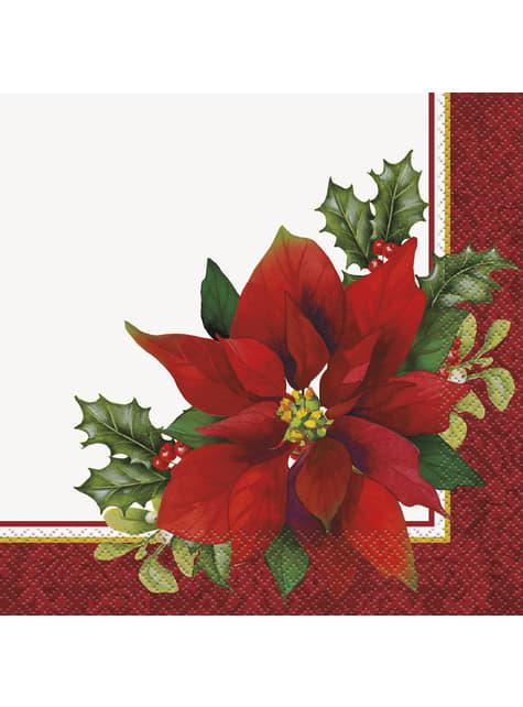 16 servilletas con flor de pascua elegante (33x33 cm) - Holly Poinsettia