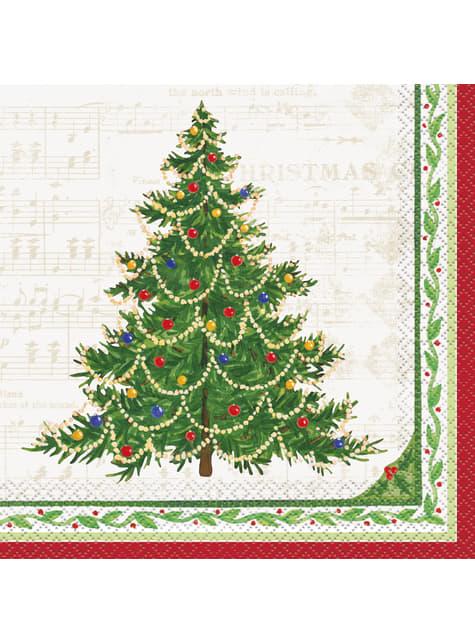 16 servilletas con árbol de navidad (33x33 cm) - Classic Christmas Tree