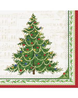 16 servetten met kerstboo (33x33 cm) - Classic Christmas Tree