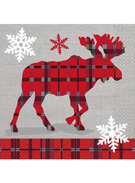 Zestaw 16 serwetek z reniferem w kratkę - Rustic Plaid Christmas