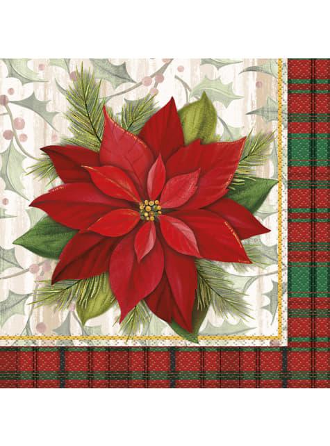 Set de 16 servilletas con flor de pascua y cuadros escoceses - Poinsettia Plaid