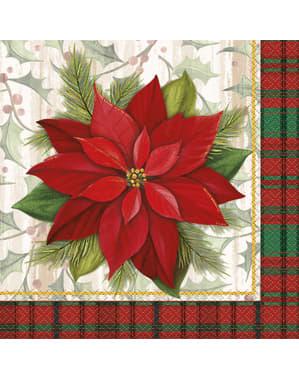 Sada 16 ubrousků s elegantní vánoční hvězdou a skotskou kostkou - Poinsettia Plaid