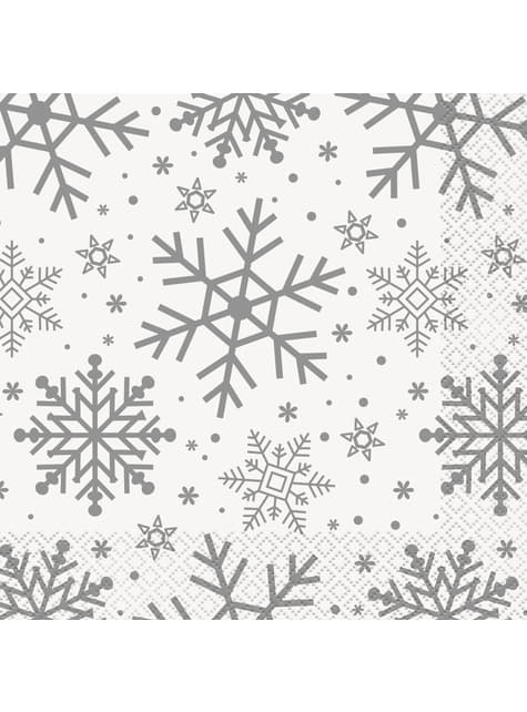 16 servilletas (33x33 cm) - Silver & Gold Holiday Snowflakes