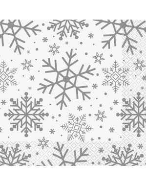 16 servetter (33x33 cm) - Silver & Gold Holiday Snowflakes
