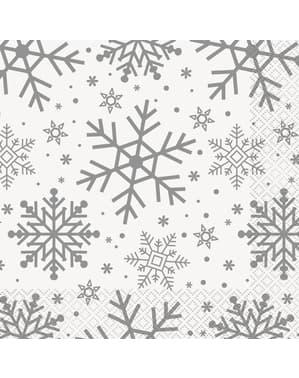 Sæt af 16 servietter- Silver & Gold Holiday Snowflakes