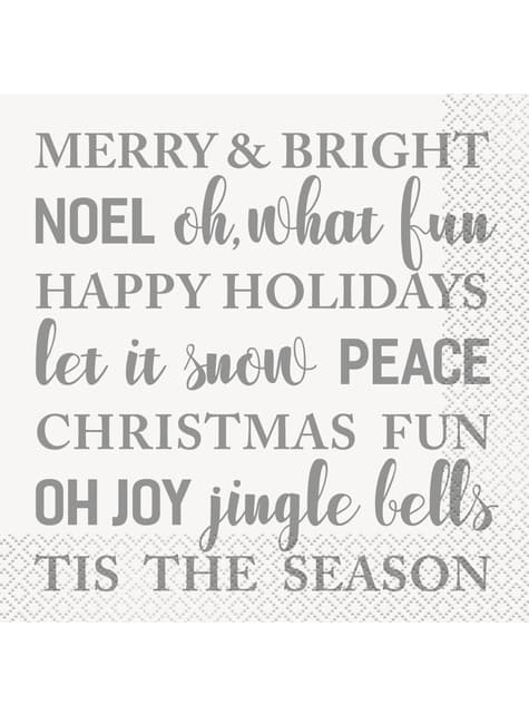 16 servilletas Merry & Bright (33x33 cm) - Silver & Gold Holiday Snowflakes