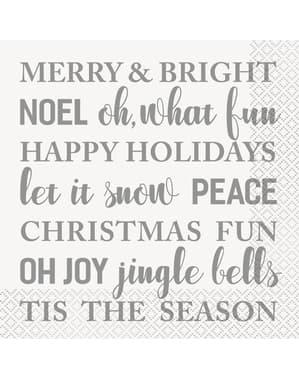Zestaw 16 serwetek w napisy - Silver & Gold Holiday Snowflakes