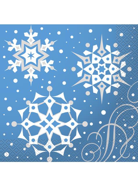 16 serviettes bleues avec flocons de neige argentés - Silver Snowflake Christmas