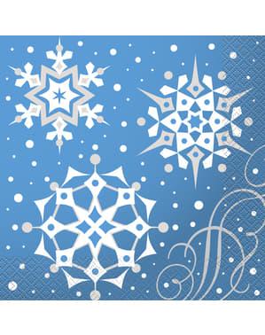 16 Serviettes en papier bleues avec flocons de neige argentés - Silver Snowflake Christmas
