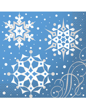 Servietten Set blau mit silber Schneeflocken 16-teilig - Silver Snowflake Christmas