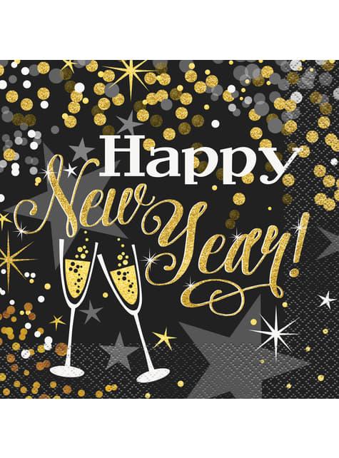 16 New Year's napkin (33x33 cm) - Glittering New Year