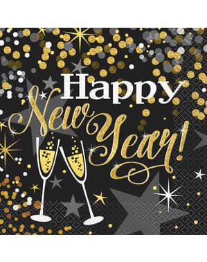 16 servetter nyår (33x33 cm) - Glittering New Year
