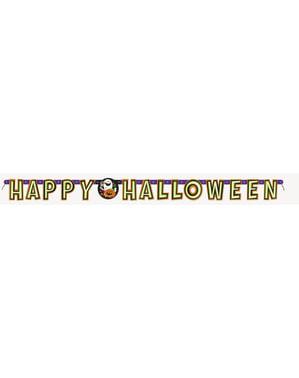 Morsomt gresskar, katt og spøkelse banner - Happy Halloween
