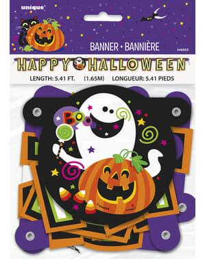 Sjovt græskar, kat og spøgelses banner - Happy Halloween