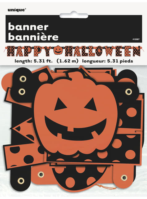 Happy Halloween polka dots and pumpkin banner - Orange & Black Dots Jointed