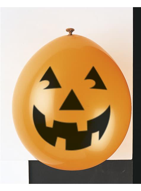 Conjunto de 10 balões de látex de abóboras - Basic Halloween