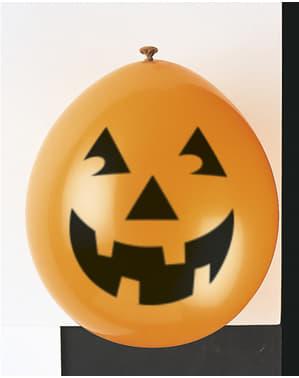 Sett med 10 latex ballonger med gresskar - Basic Halloween