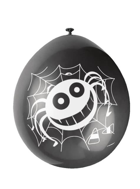 Conjunto de 10 balões de látex com aranhas - Basic Halloween