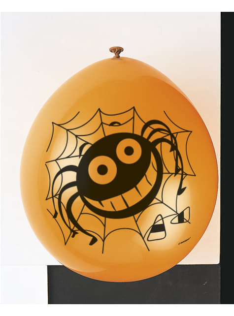 10 latex balloons with spider (22,86 cm) - Basic Halloween