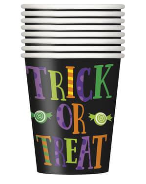 Sett med 8 kopper med barne monster - Silly Halloween Monsters
