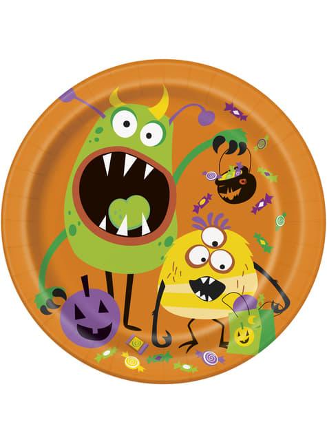 Zestaw 8 okrągłych talerzy z dziecinnymi potworami - Silly Halloween Monsters