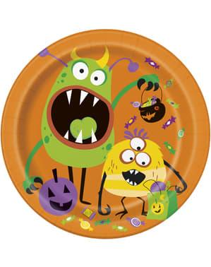 Sett med 8 rund tallerken med barne monster - Silly Halloween Monsters