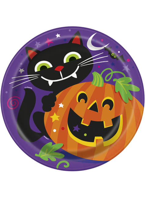 8 pratos redondos de abóbora e gato divertido (23 cm) - Happy Halloween