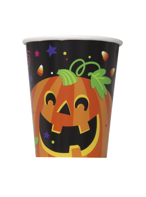 8 vasos de calabaza y gato divertidos - Happy Halloween