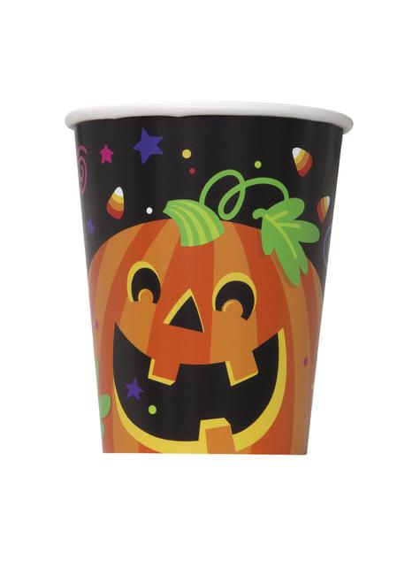 Zestaw 8 kubków z zabawną dynią i kotem - Happy Halloween