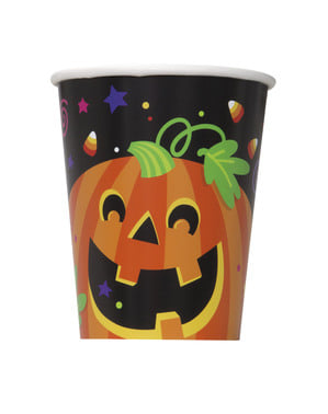 Set of 8 cups with fun pumpkin and cat - Happy Halloween