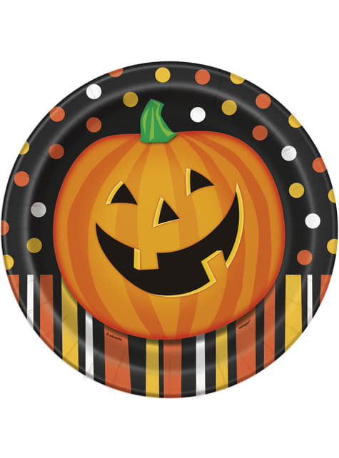 Set of 8 round plates with smiling pumpkin, polka dots and stripes - Smiling Pumpkin