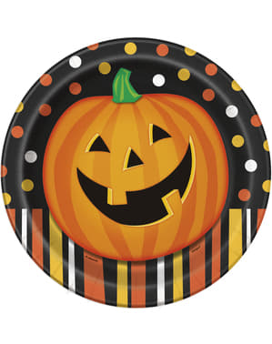 8 assiettes rondes citrouille souriante à pois et rayures - Smiling Pumpkin
