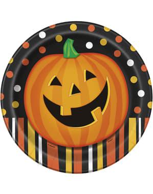 8 farfurii rotunde dovleac zâmbitor cu buline și dungi (23 cm) - Smiling Pumpkin