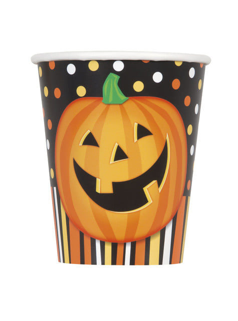 Set de 8 vasos de calabaza sonriente con lunares y rayas - Smiling Pumpkin
