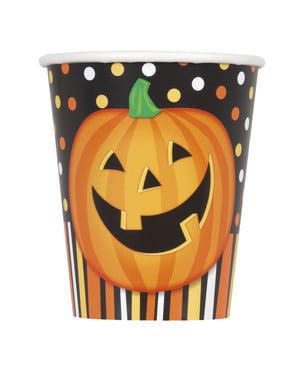 Sæt af 8 kopper med smilende græskar, polka prikker og striber - Smiling Pumpkin
