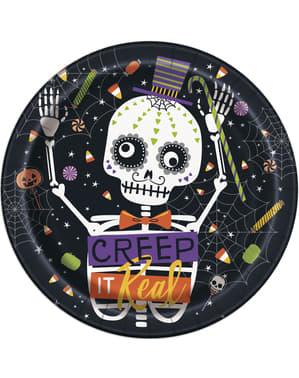 Sæt af 8 runde tallerkner med skelet og græskar- Skeleton Trick or Treat