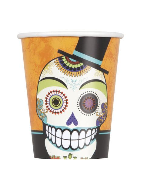 Set de 8 vasos de esqueleto del día de los muertos - Day of the Dead