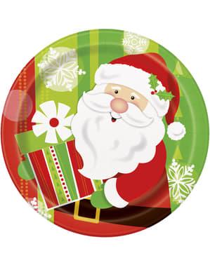Sett med 8 rund tallerken med Julenisse - Happy Nisse