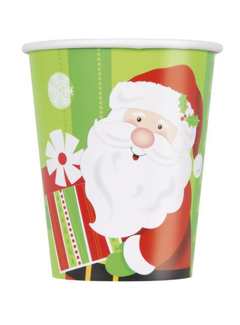 8 vasos de Papá Noel - Happy Santa