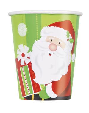 Sæt af 8 kopper med julemand - Happy Santa