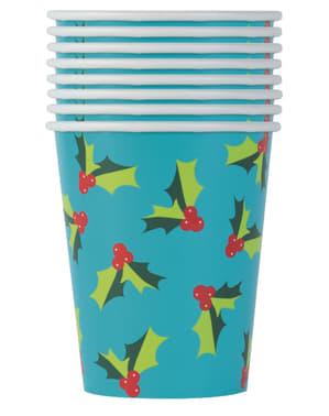 Набір з 8 чашок з омели - Холлі Санта