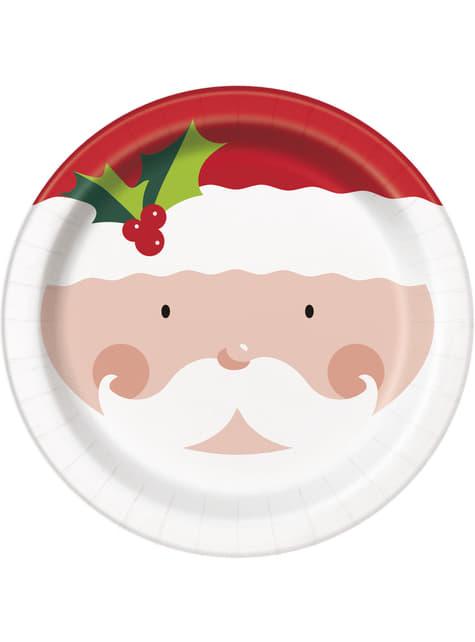 8 platos de Papá Noel (23 cm) - Holly Santa