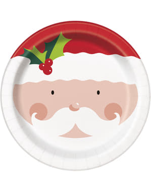 Zestaw 8 talerzy ze świętym Mikołajem - Holly Santa