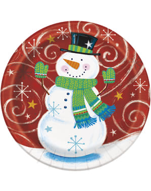 8 runda tallrikar snögubbe (23 cm) - Snowman Swirl