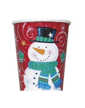 Sæt af 8 kopper med snemænd - Snowman Swirl