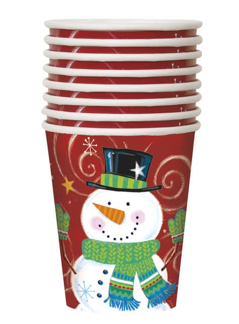 8 vasos de muñeco de nieve - Snowman Swirl - para tus fiestas