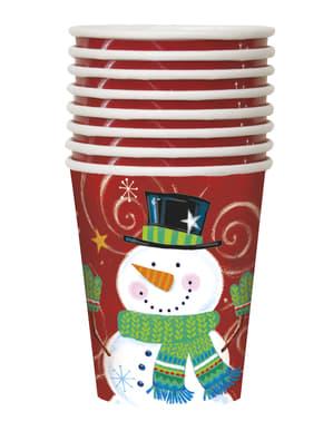 8 copos de boneco de neve - Snowman Swirl