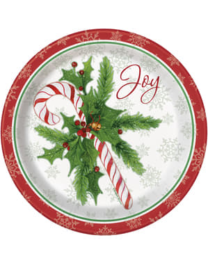 8 round plates with candy can (23 cm) - Candy Cane Christmas