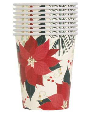 8 gobelets avec fleurs étoile de noël - Red & Gold Poinsettia